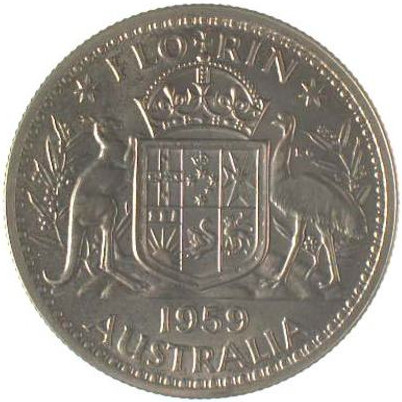 Florin 1959: Photo Proof Coin - Florin (2 Shillings), Australia, 1959