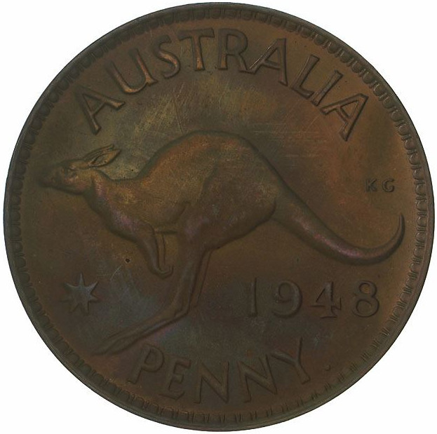 Penny 1948: Photo Proof Coin - 1 Penny, Australia, 1948