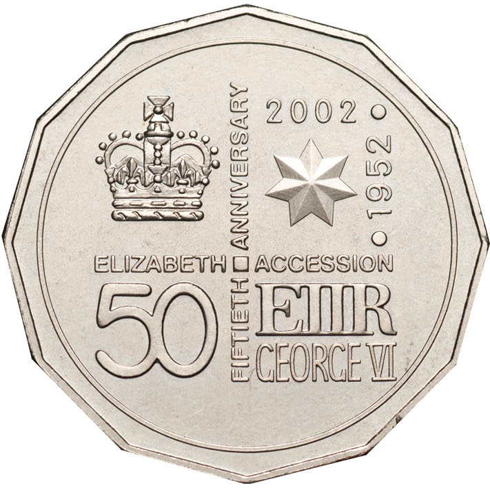 Fifty Cents 2002 Accession Golden Jubilee (NCLT): Photo 2002 50c CuNi Unc for the 50th Anniversary of Queen Elizabeth II Accession
