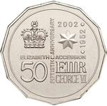 Australia / Fifty Cents 2002 Accession Golden Jubilee (NCLT) - reverse photo