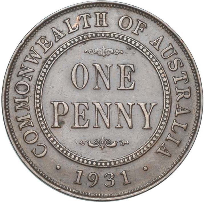 Penny 1931: Photo Penny 1931 London die, Normal 1