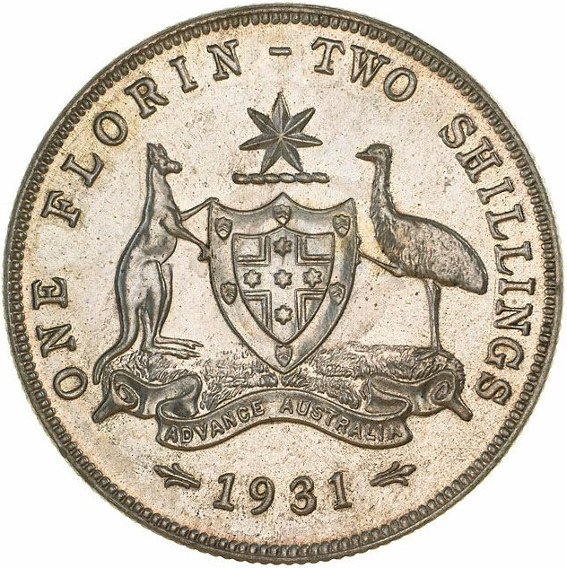 Florin 1931: Photo Proof Coin - Florin (2 Shillings), Australia, 1931