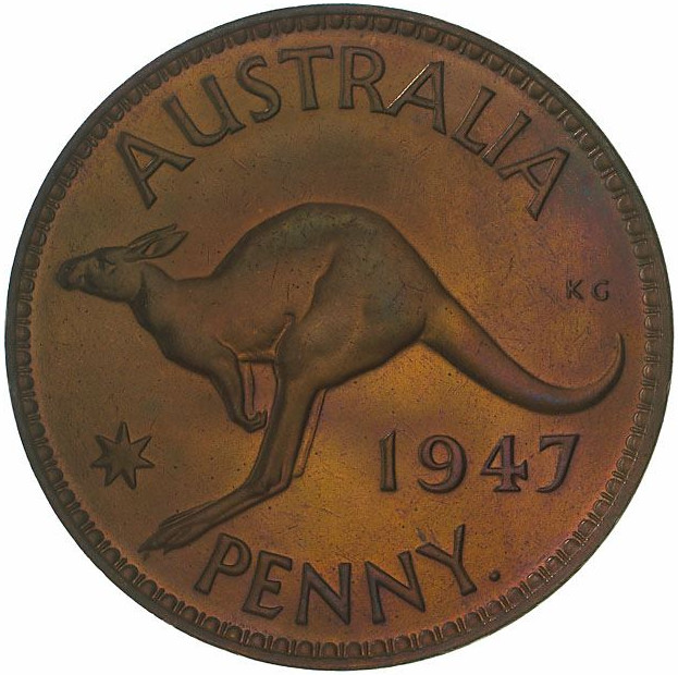 Penny 1947: Photo Proof Coin - 1 Penny, Australia, 1947