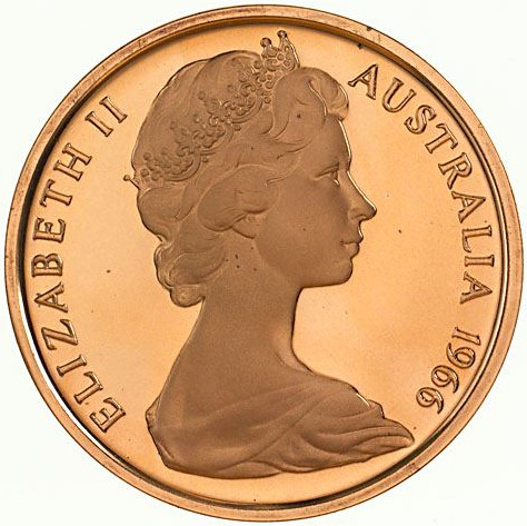 One Cent 1966: Photo Proof Coin - 1 Cent, Australia, 1966