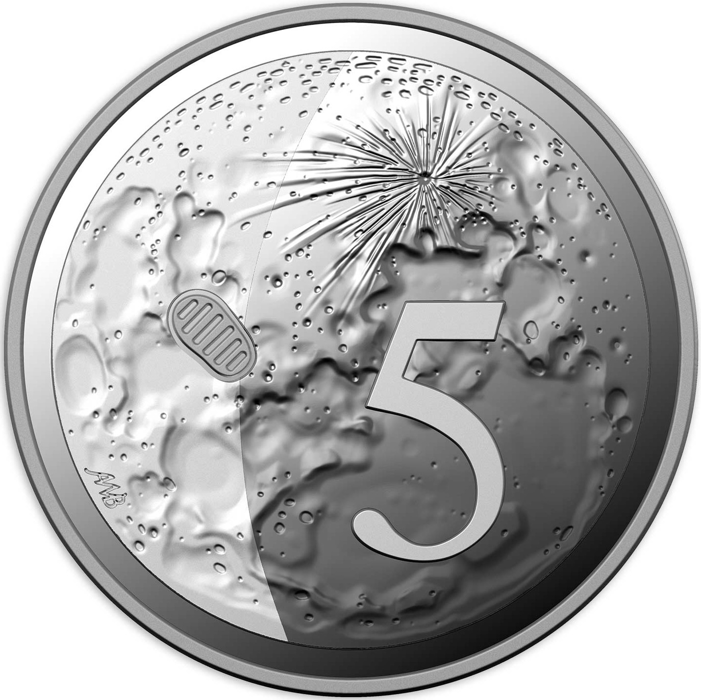 Five Cents 2019 Moon Landing (NCLT): Photo 50th Anniversary of the Moon Landing - 5 Cents Proof