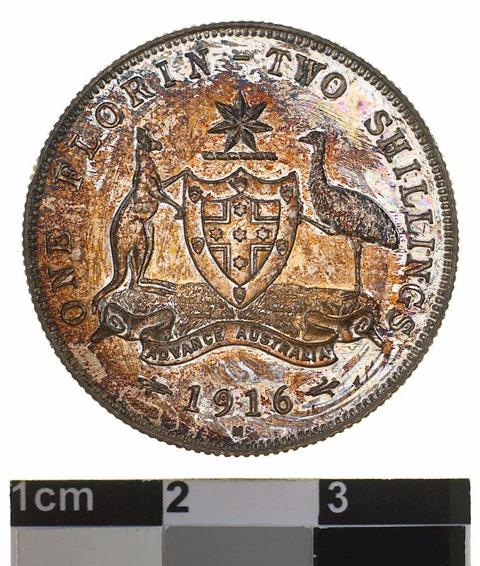 Florin 1916: Photo Proof Coin - Florin (2 Shillings), Specimen Strike, Australia, 1916