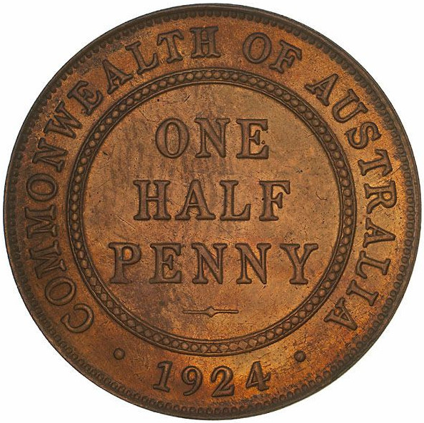 Halfpenny 1924: Photo Proof Coin - Halfpenny, Australia, 1924