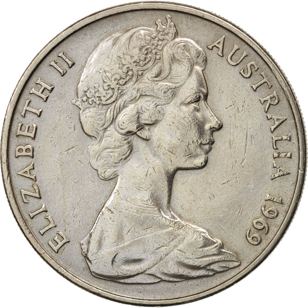 Twenty Cents 1969: Photo Coin, Australia, Elizabeth II, 20 Cents, 1969