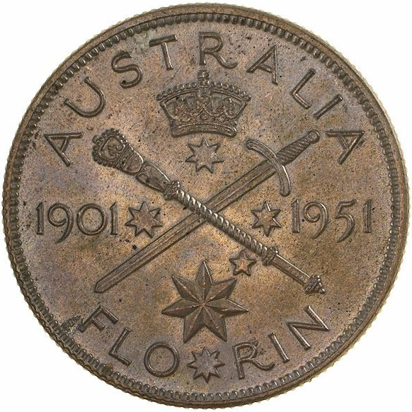 Florin 1951 Federation Jubilee: Photo Coin - Florin (2 Shillings), Jubilee of Federation, Australia, 1951