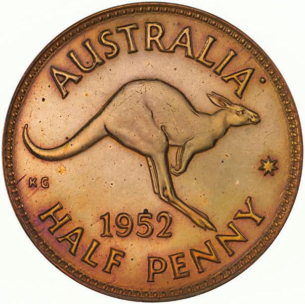 Halfpenny 1952: Photo Proof Coin - Halfpenny, Australia, 1952