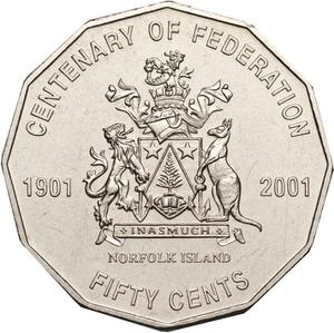 Australia / Fifty Cents 2001 Centenary of Federation - Norfolk Island - reverse photo