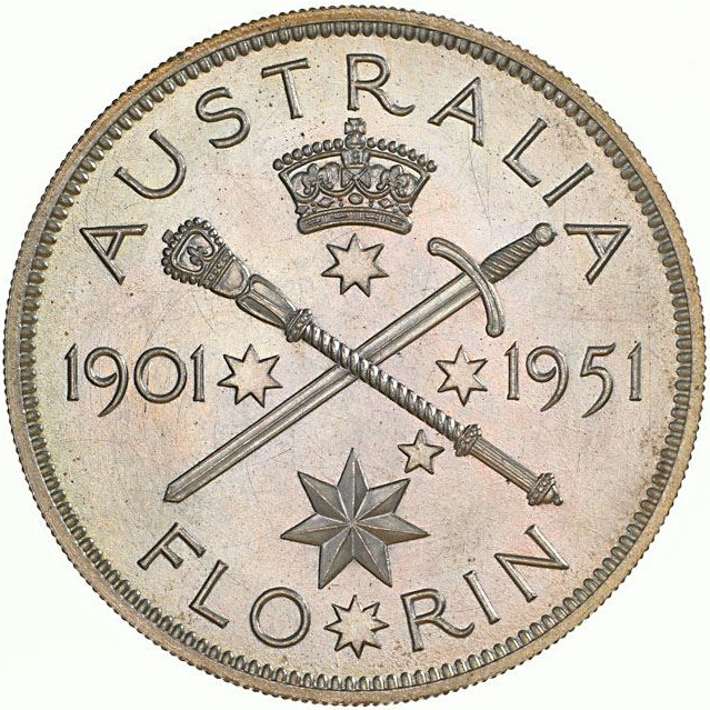 Florin 1951 Federation Jubilee: Photo Pattern Coin - Florin (2 Shillings), Jubilee of Federation 1901-1951, Australia, 1951