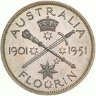 Australia / Florin 1951 Federation Jubilee / Cupro-nickel pattern, proof (Royal Mint London) - reverse photo