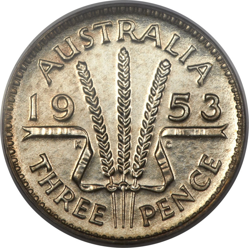 Threepence: Photo Australia 1953 3 pence
