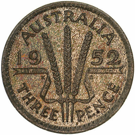 Threepence 1952: Photo Proof Coin - Threepence, Australia, 1952