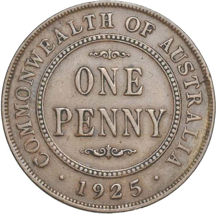 Penny 1925: Photo Coin - 1 Penny, Australia, 1925