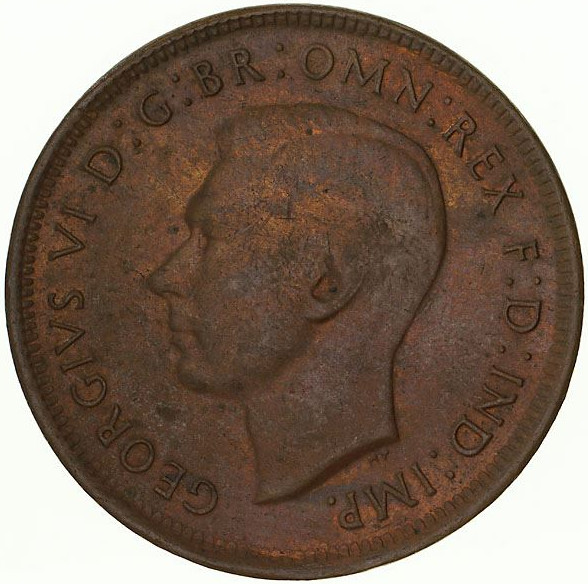 Halfpenny 1945, Coin from Australia - Online Coin Club