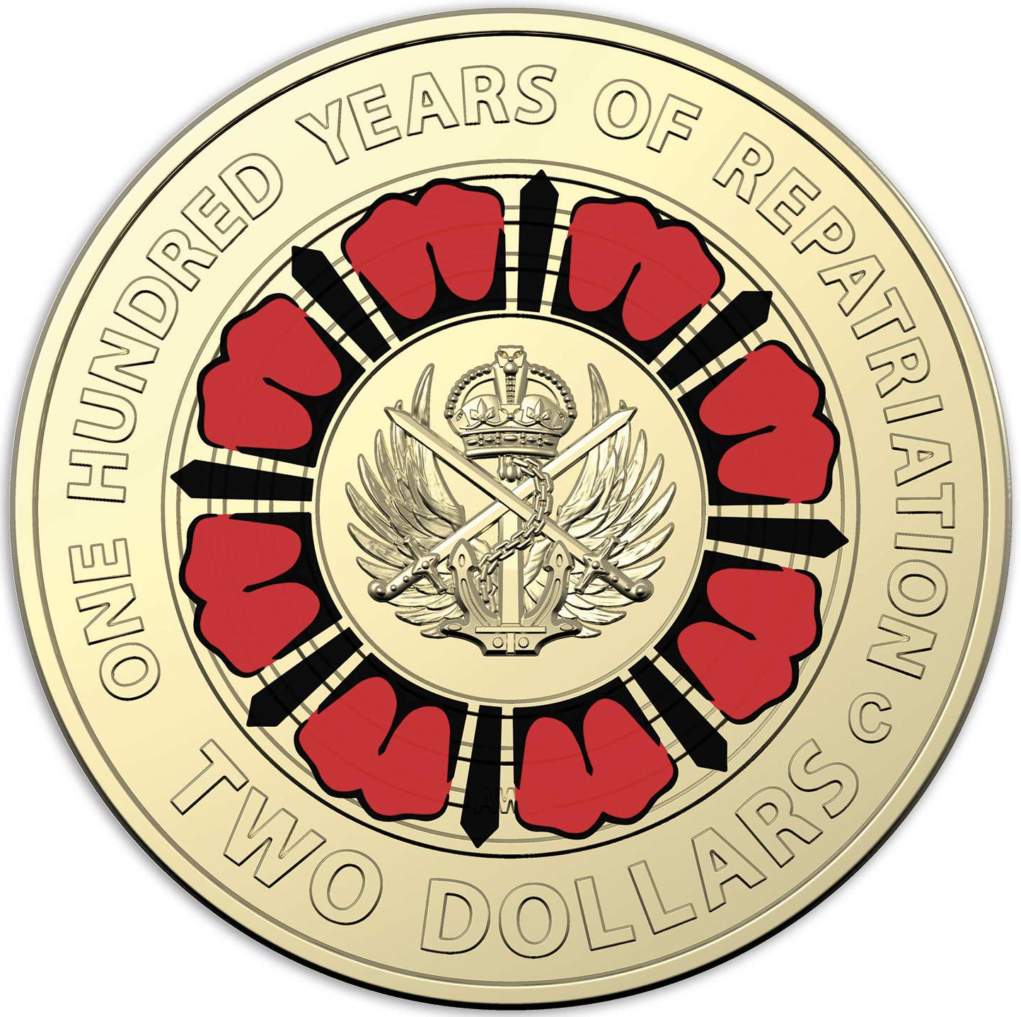 Two Dollars 2019 Repatriation (Black and Red): Photo Centenary of Repatriation circulating coloured $2 coin