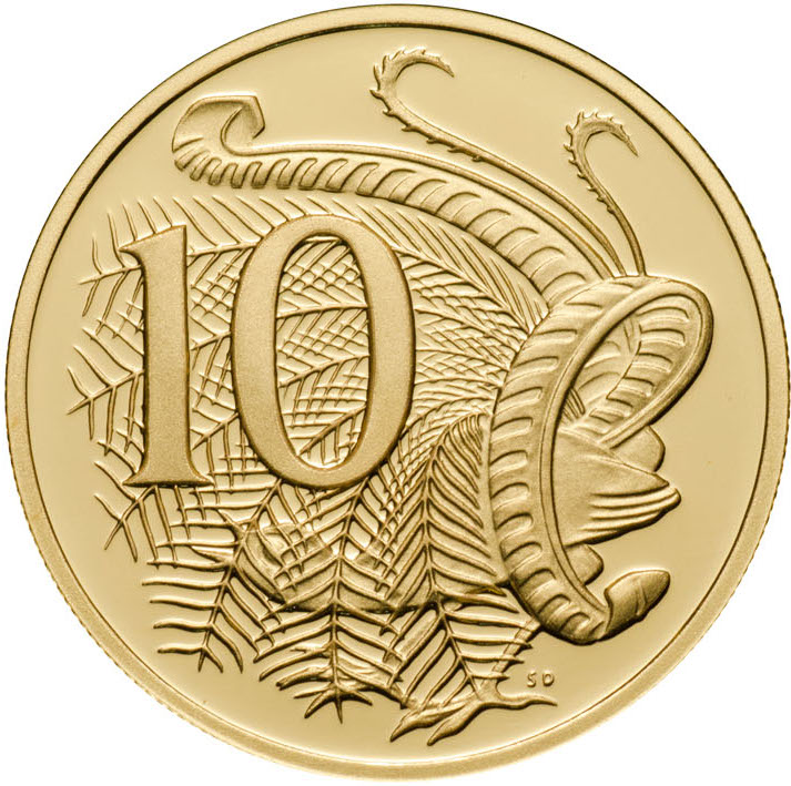 Ten Cents 2010 (Gold, Gottwald Portrait): Photo 2010 10c Gold Proof for the Proof Year Set