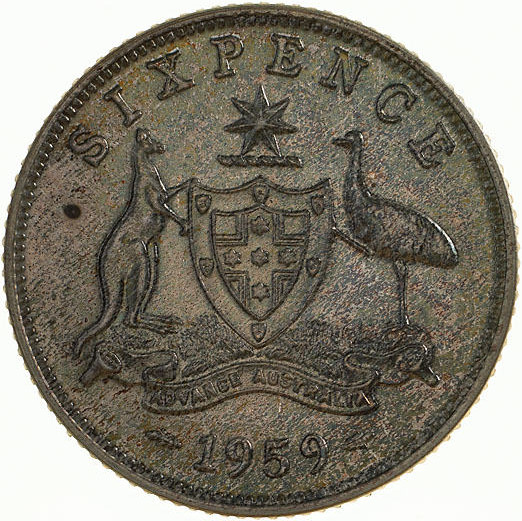 Sixpence 1959: Photo Proof Coin - Sixpence, Australia, 1959