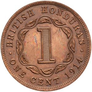 British Honduras / One Cent 1914 - reverse photo