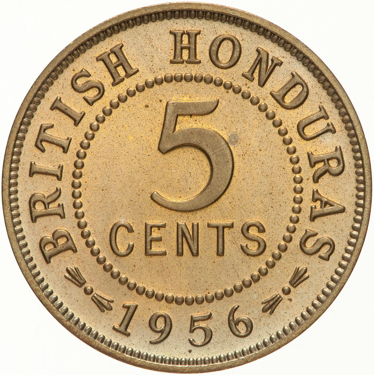 Five Cents 1956: Photo Proof Coin - 5 Cents, British Honduras (Belize), 1956