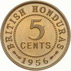 British Honduras / Five Cents 1956 - reverse photo