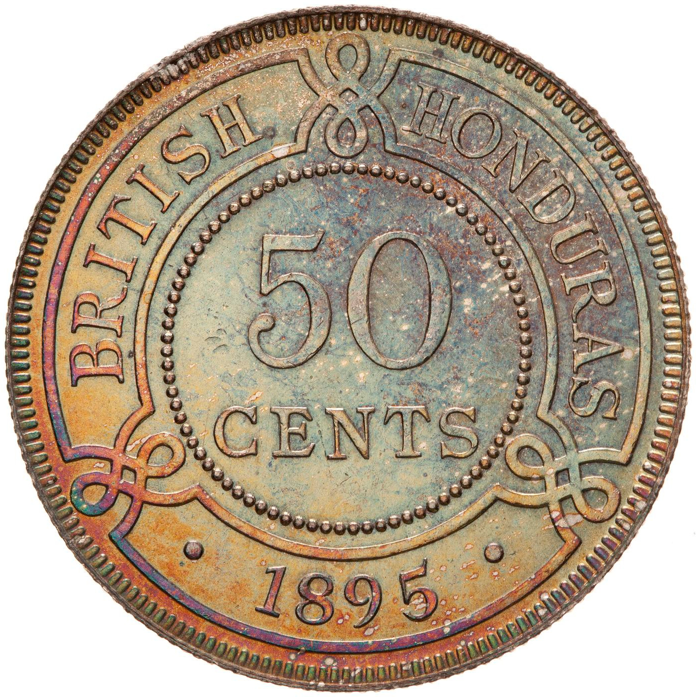 Fifty Cents 1895: Photo Coin - 50 Cents, British Honduras (Belize), 1895