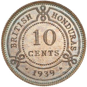 British Honduras / Ten Cents 1939 - reverse photo