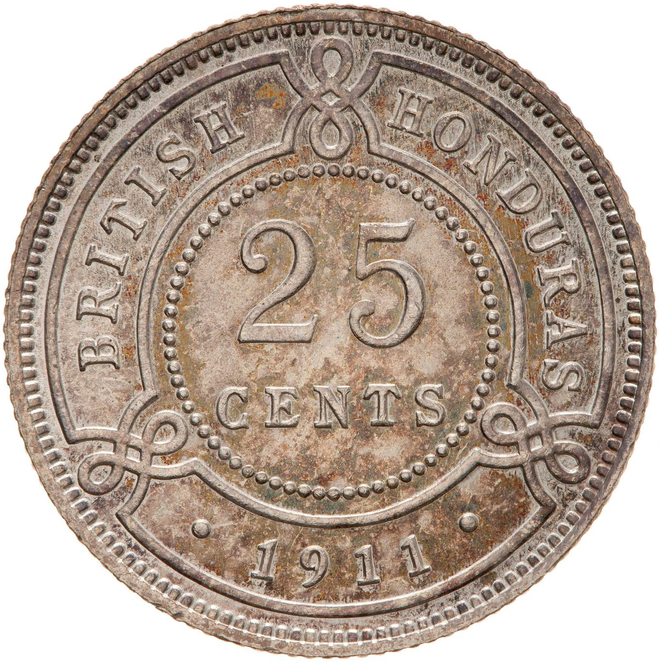 Twenty Five Cents 1911: Photo Coin - 25 Cents, British Honduras (Belize), 1911