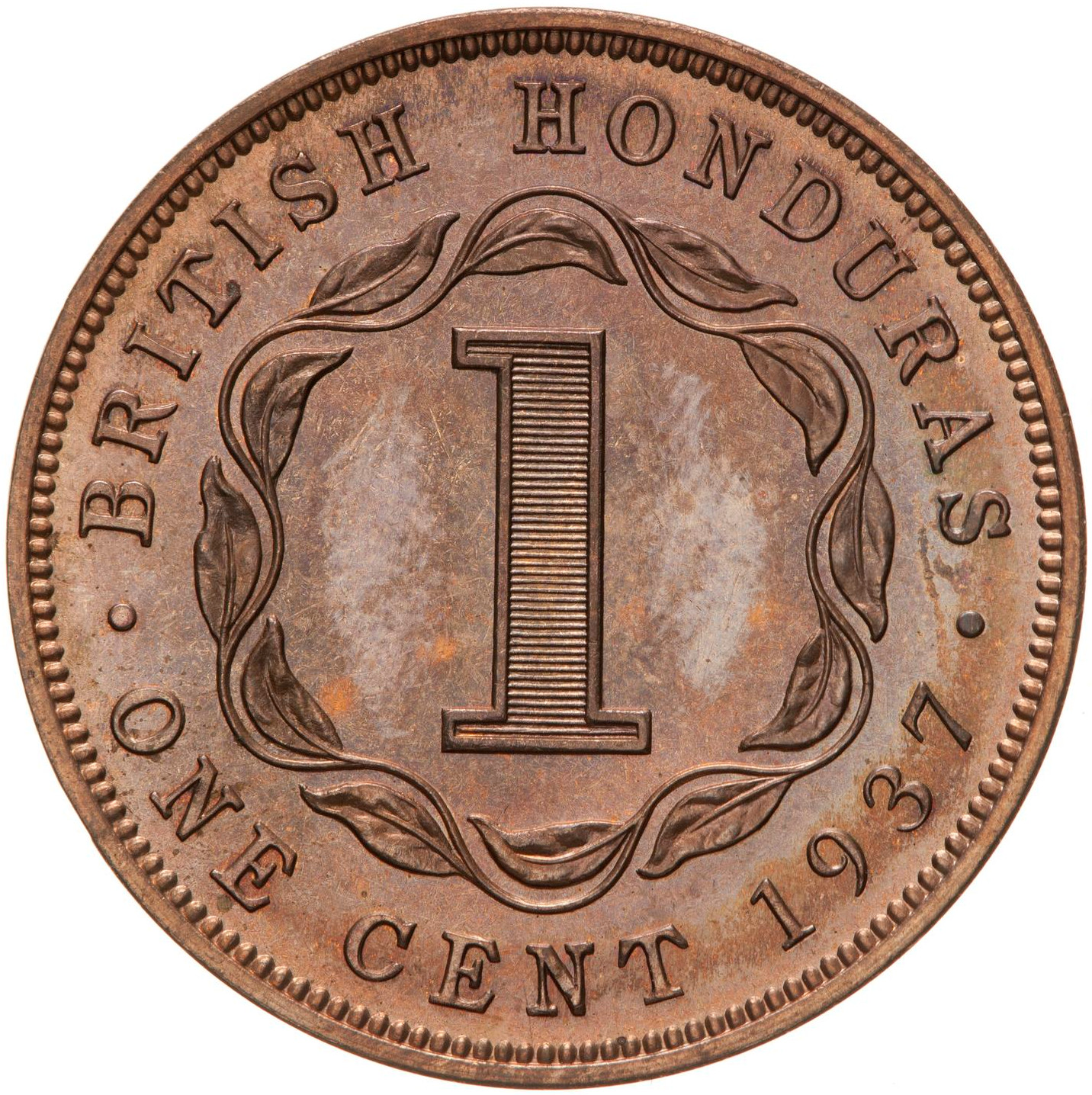 One Cent 1937: Photo Proof Coin - 1 Cent, British Honduras (Belize), 1937