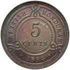 Five Cents 1894: Photo Proof Coin - 5 Cents, British Honduras (Belize), 1894
