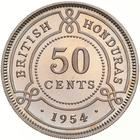 Fifty Cents 1954: Photo Proof Coin - 50 Cents, British Honduras (Belize), 1954