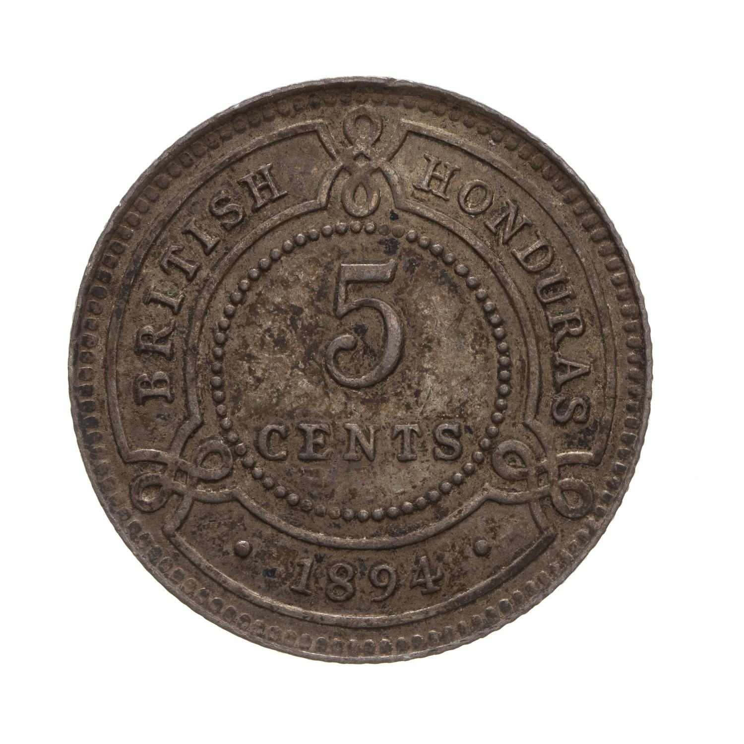 Five Cents 1894: Photo Coin - 5 Cents, British Honduras (Belize), 1894