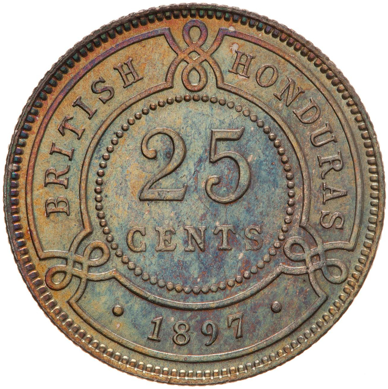 Twenty Five Cents 1897: Photo Coin - 25 Cents, British Honduras (Belize), 1897