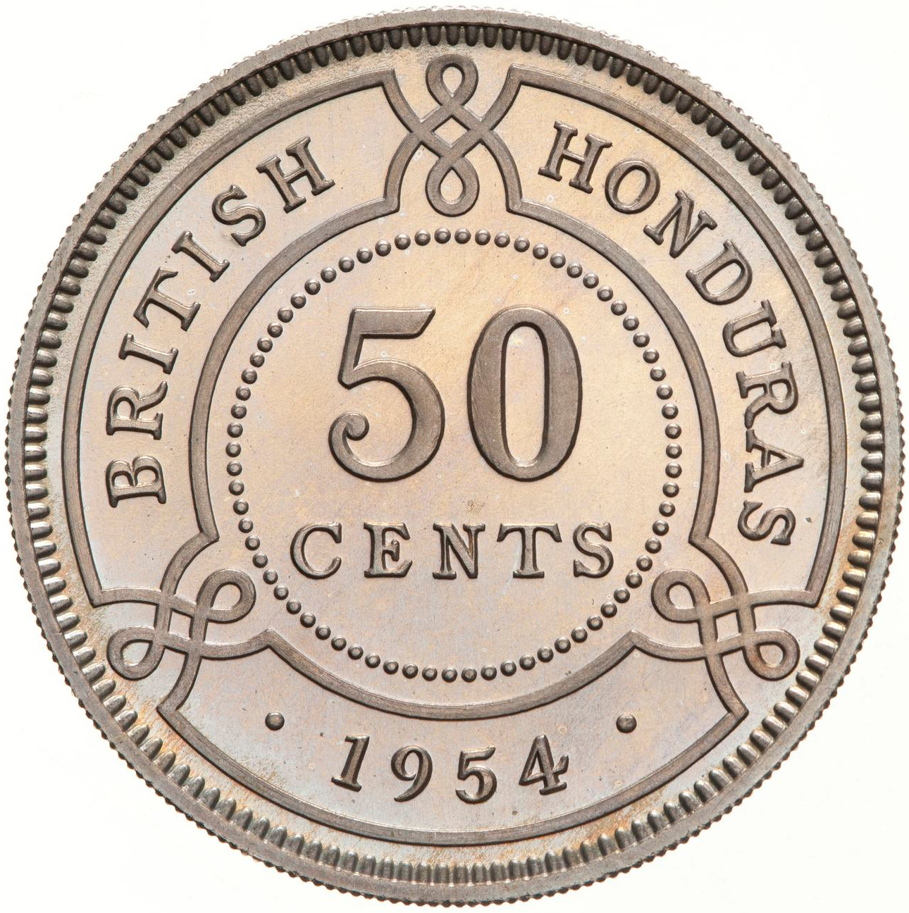 Fifty Cents: Photo Proof Coin - 50 Cents, British Honduras (Belize), 1954