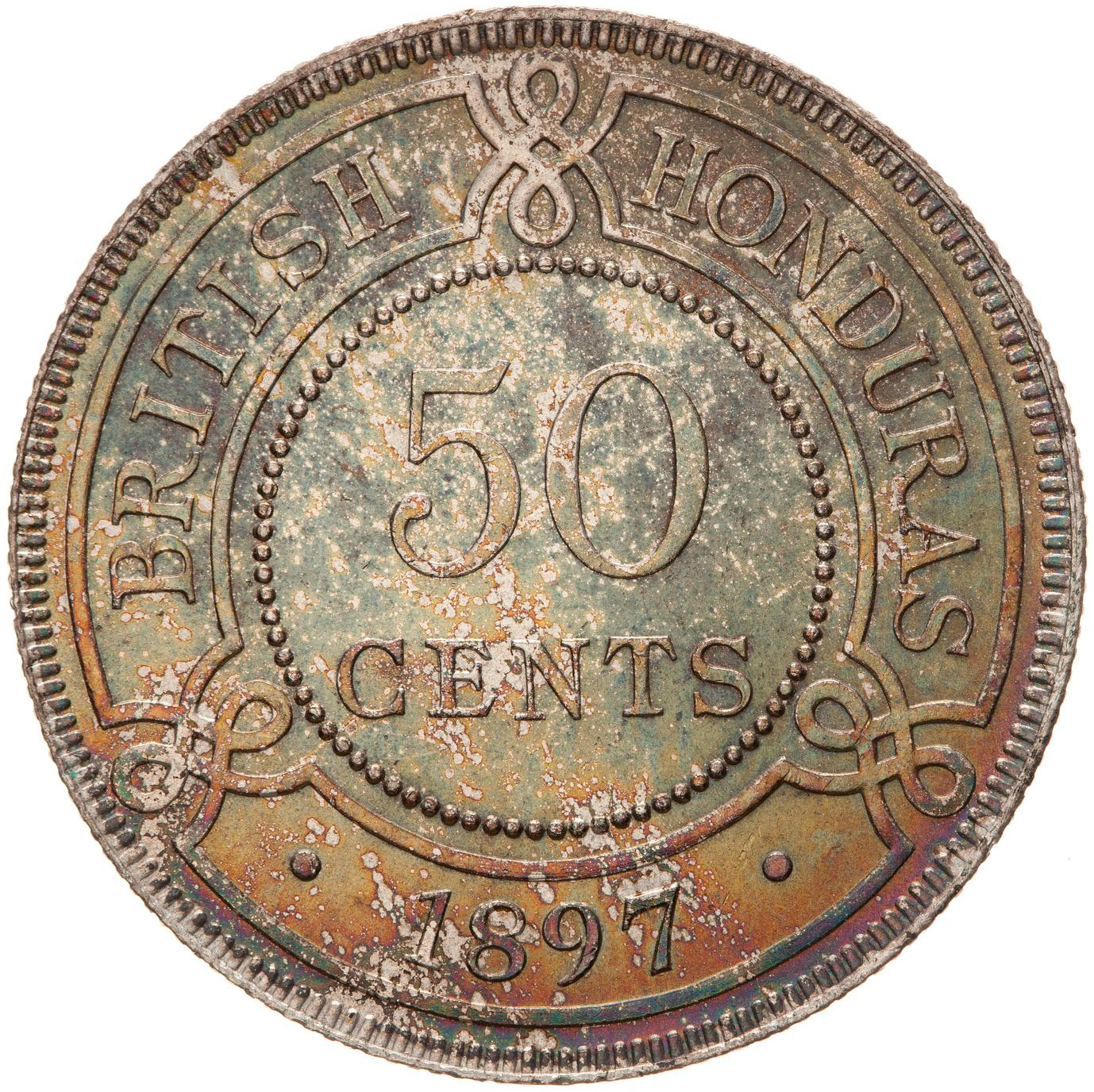 Fifty Cents 1897: Photo Coin - 50 Cents, British Honduras (Belize), 1897