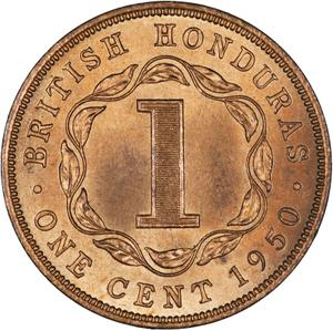 British Honduras / One Cent 1950 - reverse photo