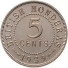 Five Cents 1939: Photo Proof Coin - 5 Cent, British Honduras (Belize), 1939
