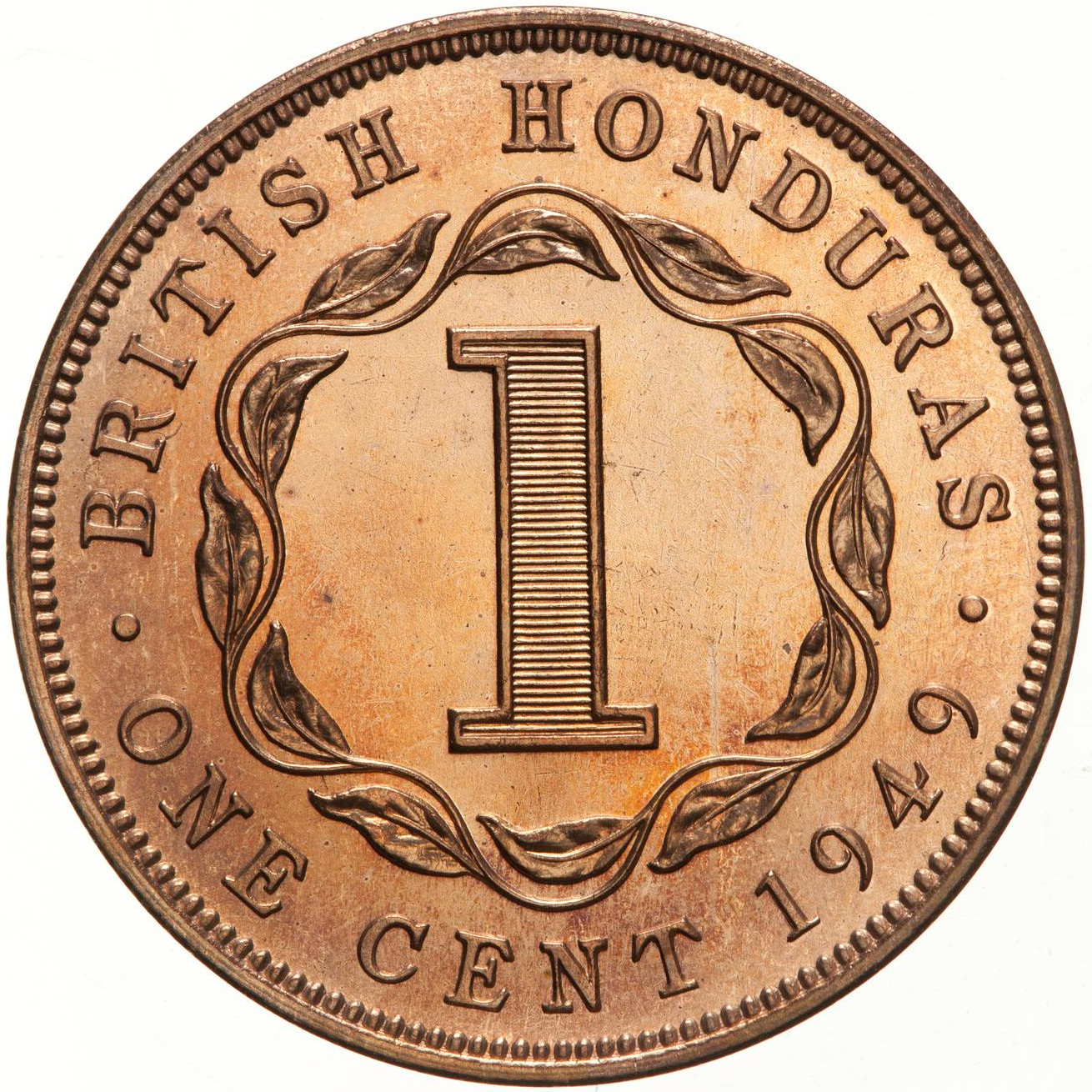 One Cent 1949: Photo Proof Coin - 1 Cent, British Honduras (Belize), 1949
