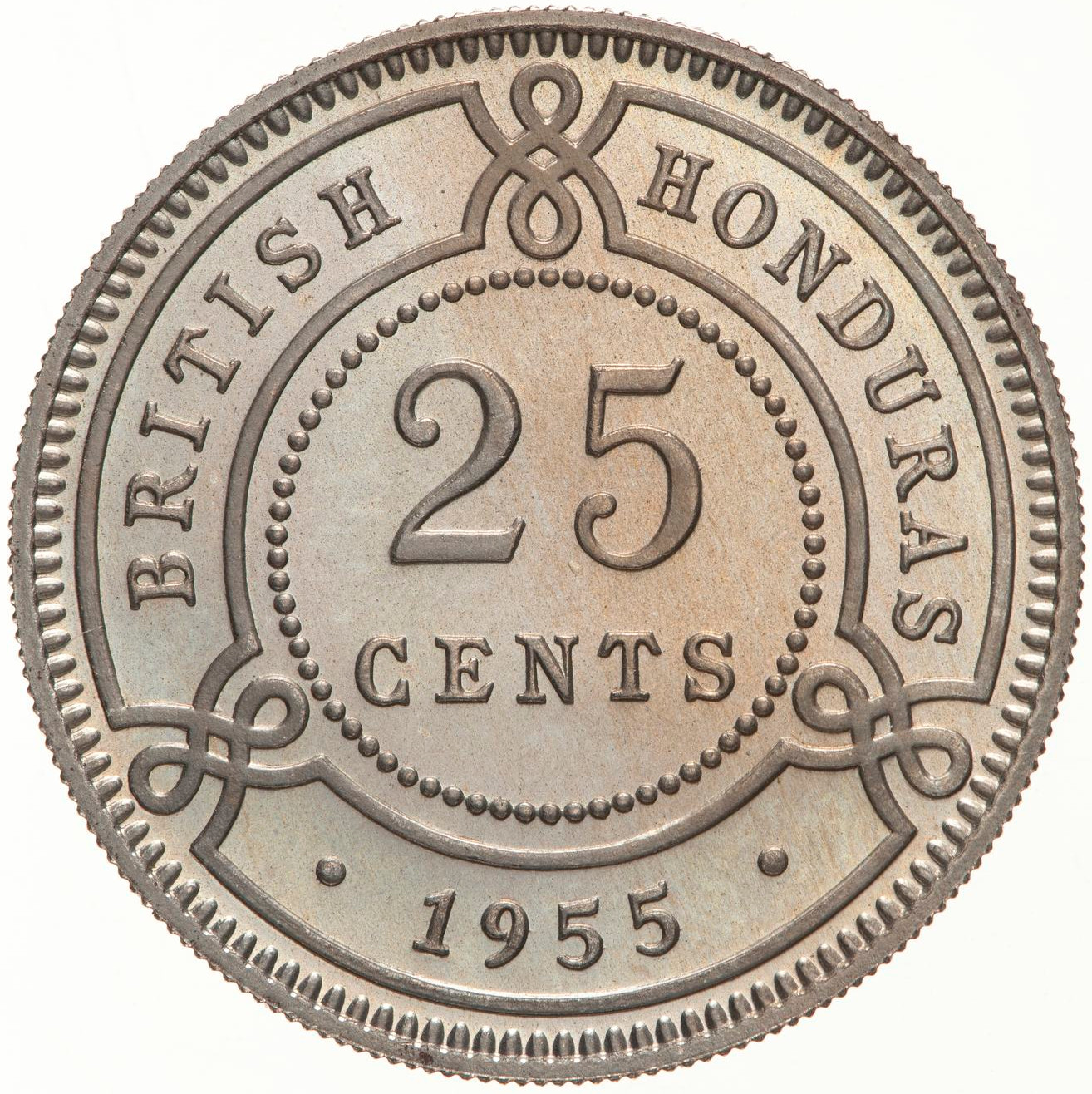 Twenty Five Cents 1955: Photo Proof Coin - 25 Cents, British Honduras (Belize), 1955