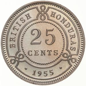 British Honduras / Twenty Five Cents 1955 - reverse photo