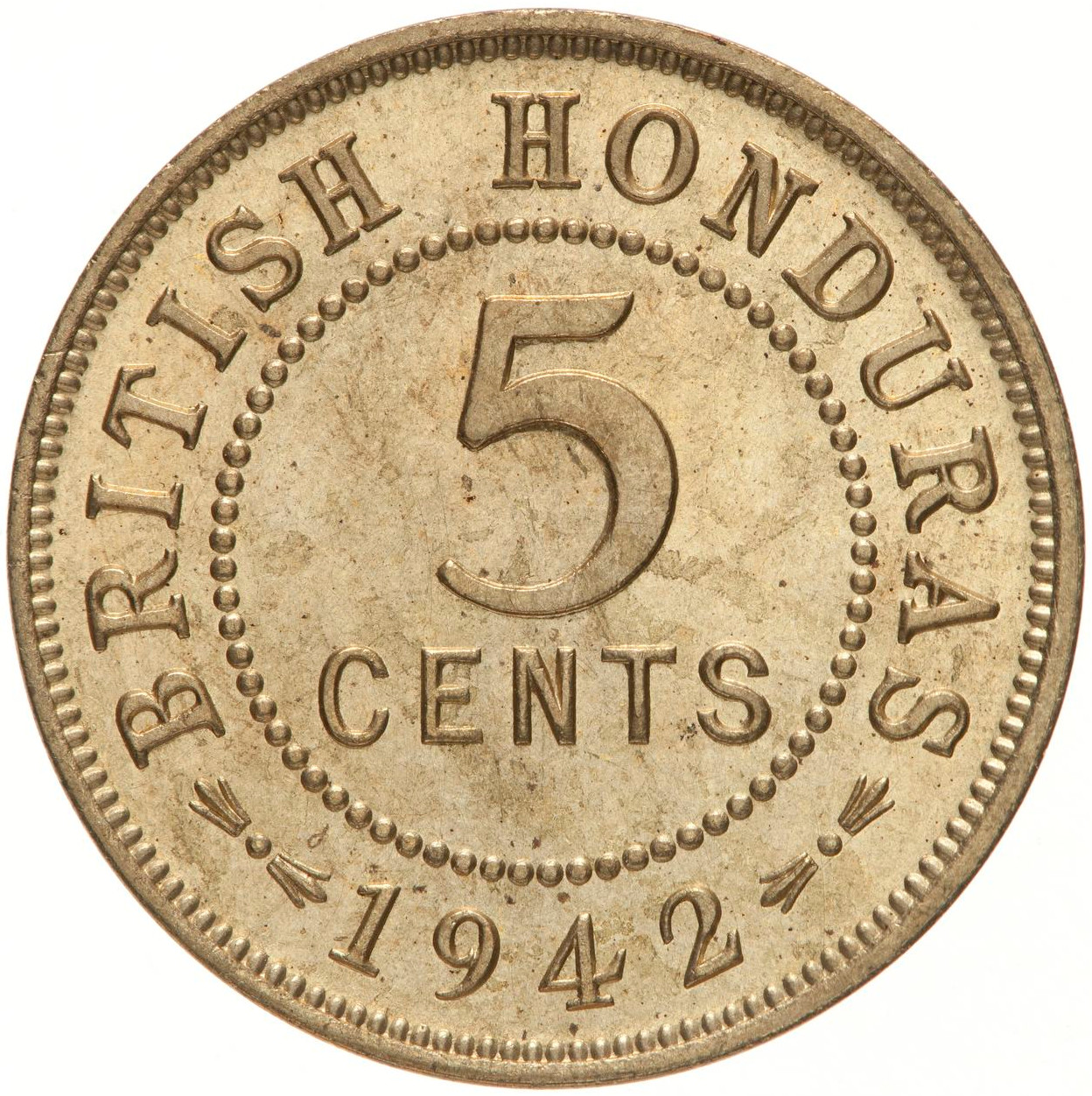 Five Cents 1942: Photo Coin - 5 Cents, British Honduras (Belize), 1942