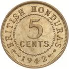 British Honduras / Five Cents 1942 - reverse photo