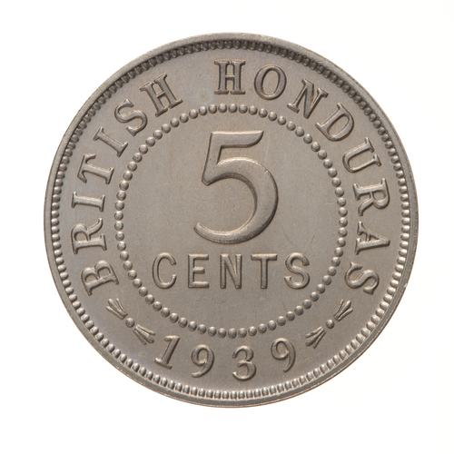 Five Cents: Photo Proof Coin - 5 Cent, British Honduras (Belize), 1939