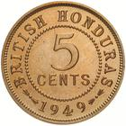 Five Cents 1949: Photo Proof Coin - 5 Cents, British Honduras (Belize), 1949