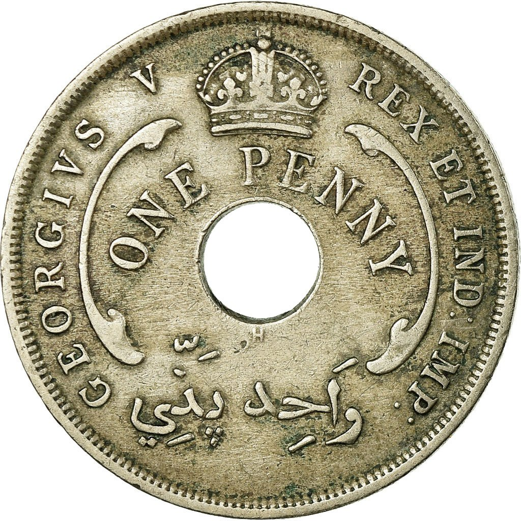 One Penny 1919: Photo Coin, British West Africa, George V, Penny, 1919