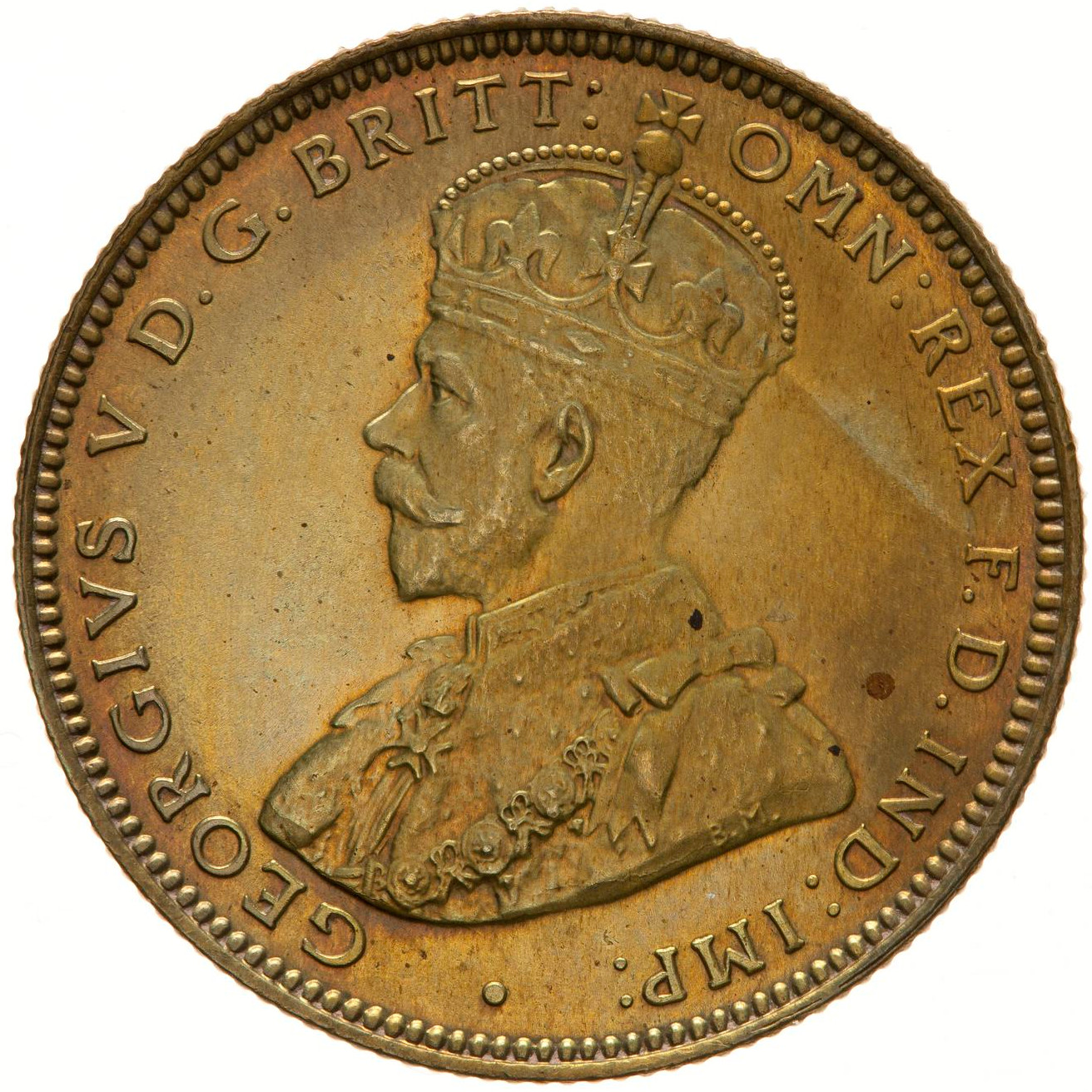 Shilling (Tin Brass, George V): Photo Proof Coin - 1 Shilling, British West Africa, 1925