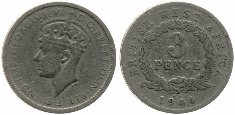Threepence 1944: Photo 3 Pence