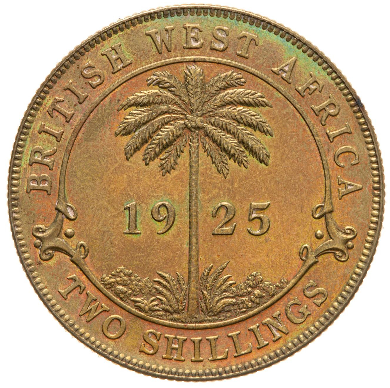 Two Shillings (Tin Brass): Photo Proof Coin - 2 Shillings, British West Africa, 1925